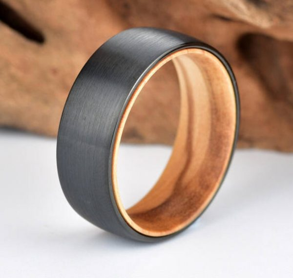 Olive Wood Tungsten Ring - Exotic Olive Wood