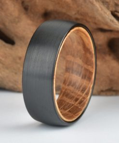 Black Tungsten Wood Ring Lined with Whisky Barrel White Oak Mens Wedding Band
