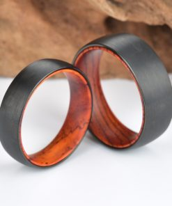 Gun Metal Grey Sand Blasted Ring Exotic Cocobolo Wood