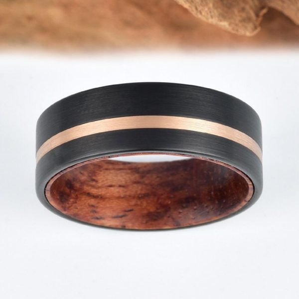 Koa Wood Black Tungsten Ring With Rose Tungsten Piping