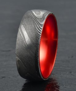 Wood Grained Damascus Ring Red Anodized Aluminum Interior