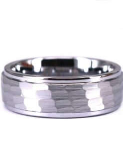 Tungsten Hammered Brushed Mens 8mm Wedding Band