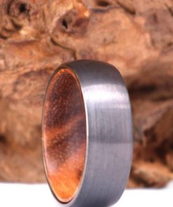 Silver Tungsten Wedding Ring - Exotic Olive Wood