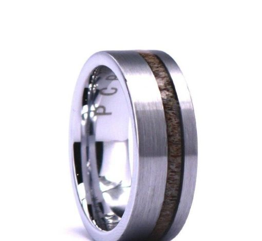 Silver Tungsten Ring - Exotic Antler Piping
