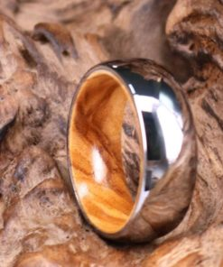Silver Tungsten Ring - Exotic Olive Wood