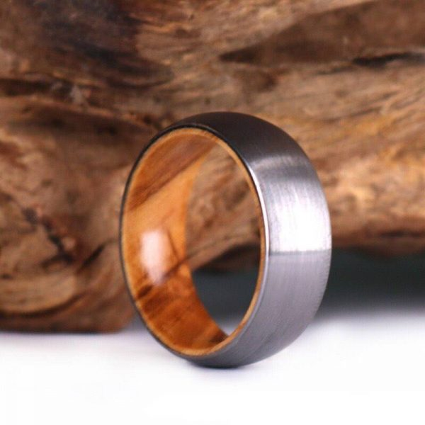 Olive Wood Tungsten Wood Ring Wood Lined 8MM