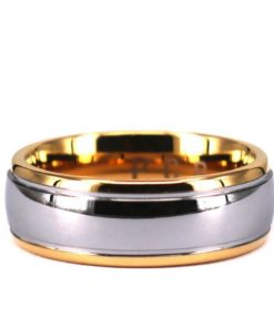 Tungsten Two Tone Mens 8mm Wedding Band