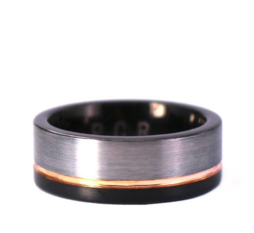 Black & White Tungsten With Rose Piping Mens 8mm Wedding Band