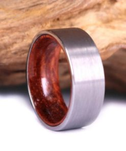 Silver Tungsten Ring - Exotic Rose Wood