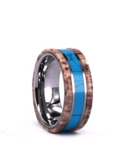 Tungsten Wood Inlayed Ring With Exotic Antler and Turquise - 8MM