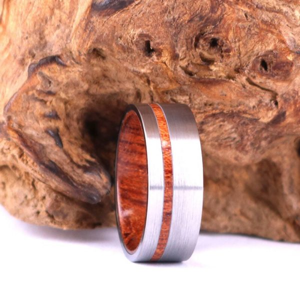 Custom Silver Tungsten Ring - Exotic Red Wood