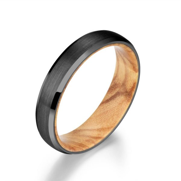 Black Tungsten Ring - Exotic Olive Wood