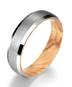 White Tungsten Ring - Exotic Olive Wood