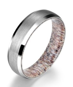 Silver Tungsten Ring - Exotic Antler Sleeve