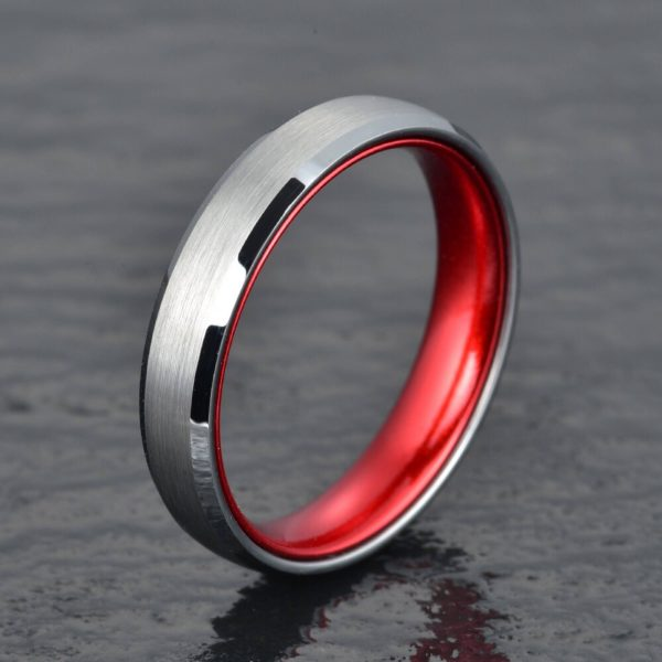 Silver Tungsten Wedding Ring - Passion Red